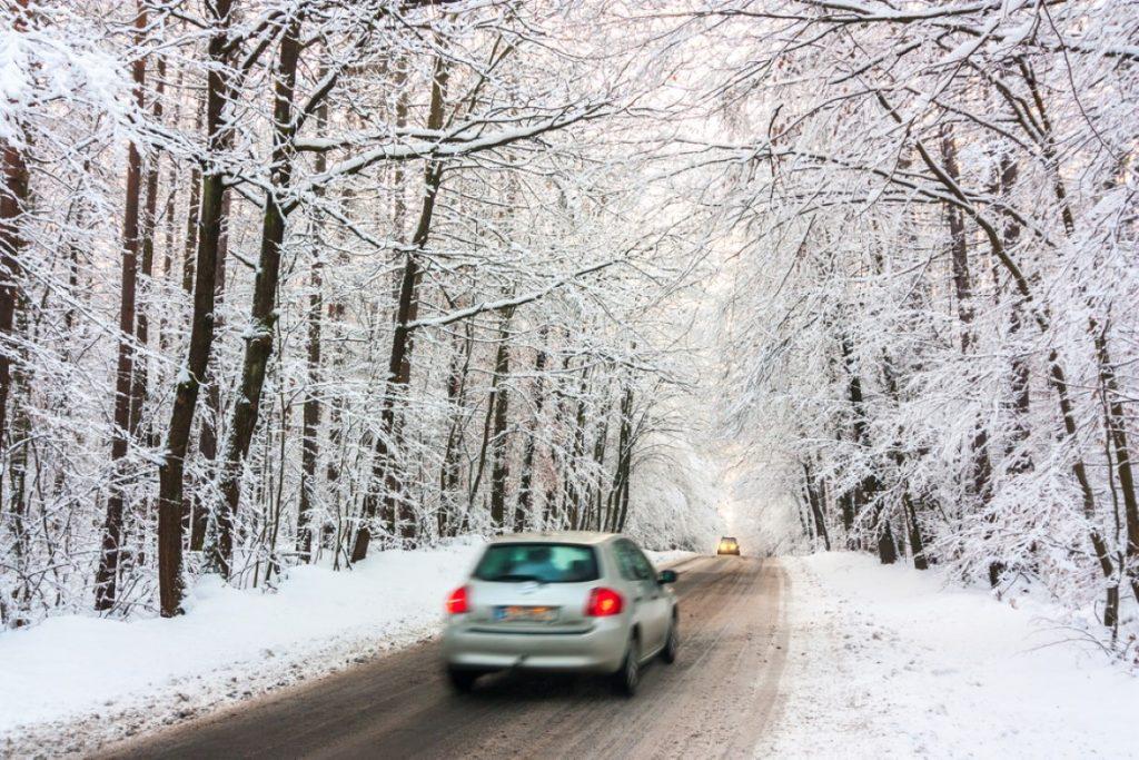 Car on winter road